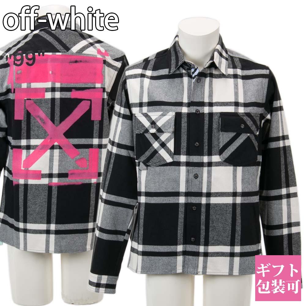 オフホワイト OFF-WHITE シャツ シャツジャケット チェック柄 メンズ 【OFF WHITE 大きいサイズ 男性 新品 正規品 セール VIRGIL ABLOH】