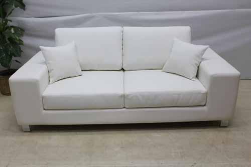 ●商品名:【アウトレット】 Baque de Loop 二人掛けソファー sf002-2p-wh 合皮レザー ホワイト 白