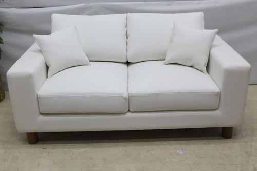 ●商品名:【アウトレット】 Baque de Loop 二人掛けソファー sf005-2p-wh 合皮レザー ホワイト 白