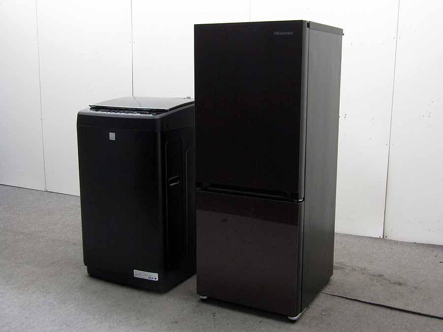 【中古 冷蔵庫 洗濯機】おススメ2点セット ハイセンス 冷凍冷蔵庫 HR-G1501154L 洗濯機 HW-G55E5KK 5.5kg 2017年製 2~3人用 中型 激安
