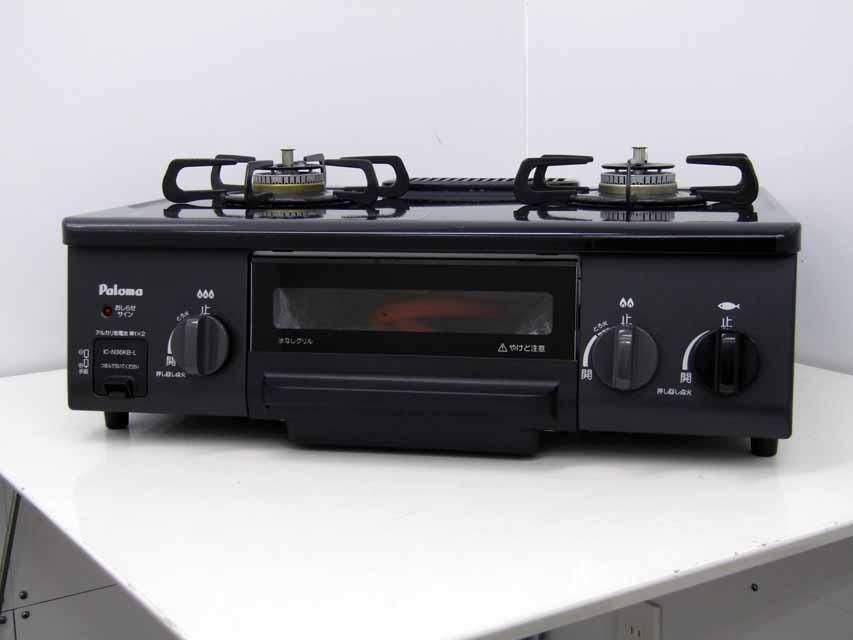 【あす楽】【中古】【ガステーブルコンロ】パロマ IC-N36KB-L LPガス 口数2個 左強火バーナー ホーロートップ Siセンサー ブラック 2017年製 プロパン 据え置き 価格 安い おすすめ