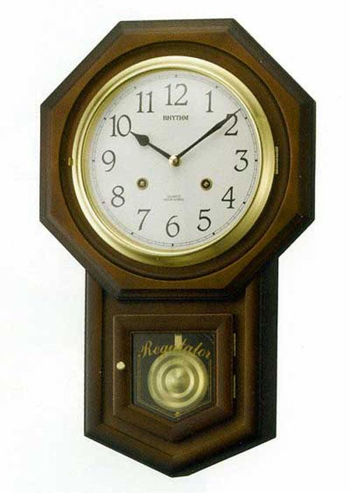 訳あり アウトレット品 リズム時計工業 RHYTHM クォーツ 壁掛け時計 振り子付き フィオリータR 茶半艶仕上 4MJ770RH06 アナログ