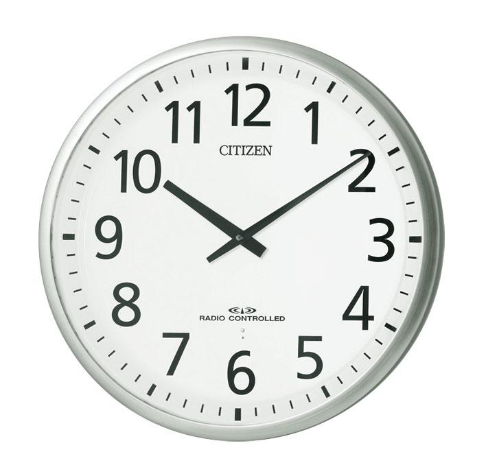 訳あり アウトレット品 シチズン CITIZEN スリーウェイブM821 電波壁掛け時計 白 シルバー仕上げ リズム時計工業 オフィスタイプ