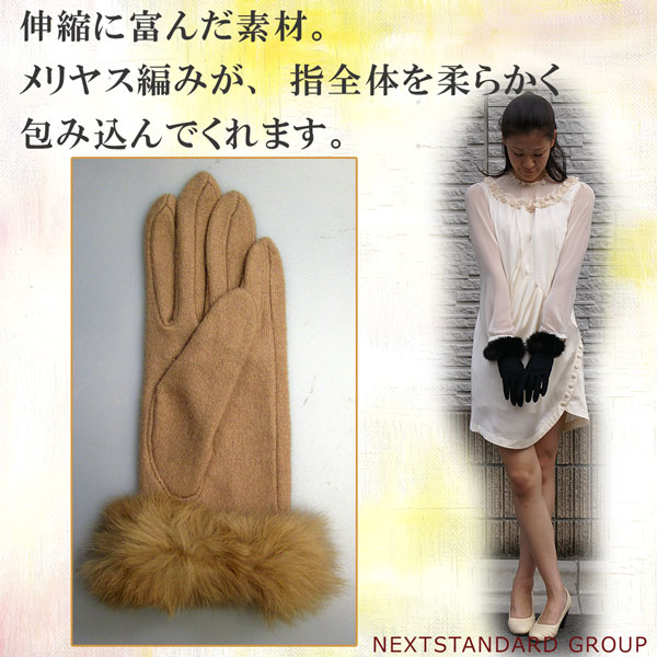 Home delivery! Lady's jersey knit gloves ☆ rabbit fur volume rabbit rial fur belonging to! Elegant casual clothes glove fs3gm