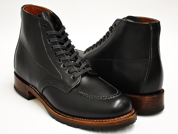 RED WING BECKMAN EMBOSSED MOC TOE #9029 BLACK 'FEATHERSTONE' WIDTH:D