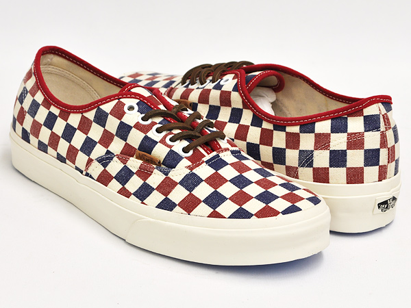 red and blue checkered vans