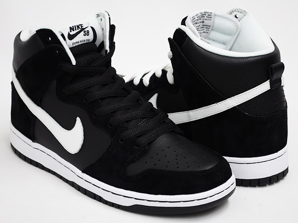 nike dunk high black and white