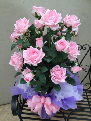バラ 2本立 人工観葉植物 造花