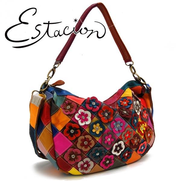 エスタシオン Estacion 革 小花モチーフ2WAYバッグ【色の配色は1つずつ全て異なります】