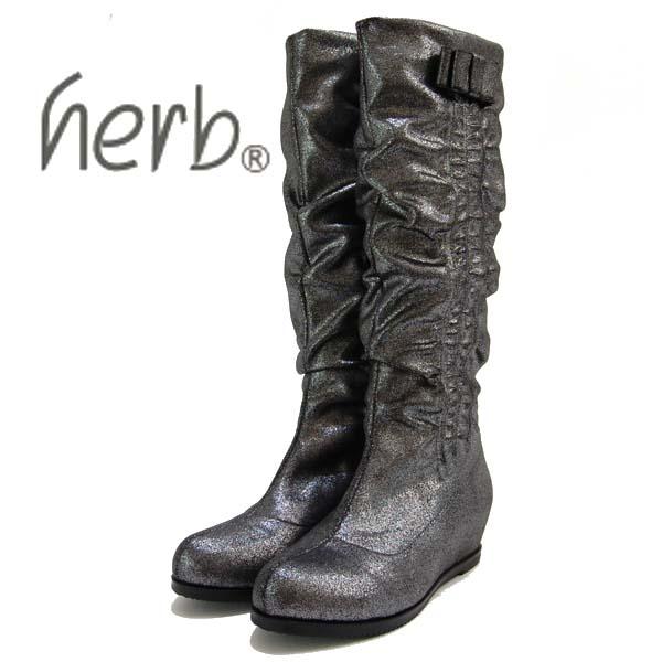 herb ハーブ ストレッチ素材インヒール ハーフブーツ