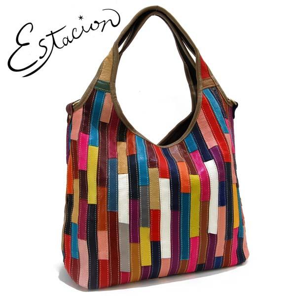 エスタシオン Estacion 革 ストライプ切替くり手ショルダーバッグ【色の配色は1つずつ全て異なります】