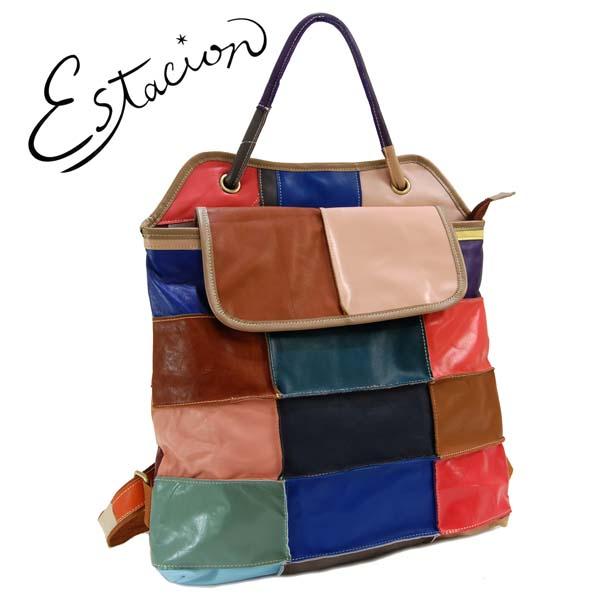 エスタシオン Estacion 革 パッチワーク風2WAYリュックサック【色の配色は1つずつ全て異なります】