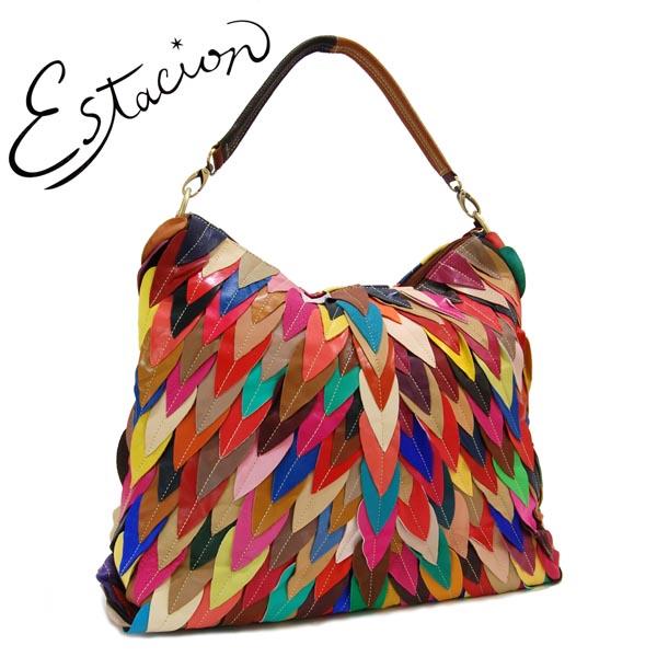 エスタシオン Estacion 革 リーフモチーフ 2WAYバッグ【色の配色は1つずつ全て異なります】