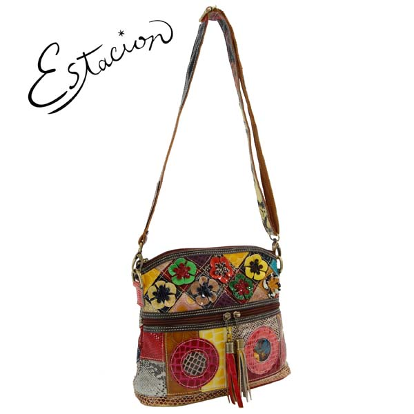 エスタシオン Estacion 革 エナメル花モチーフショルダーバッグ【色の配色は1つずつ全て異なります】