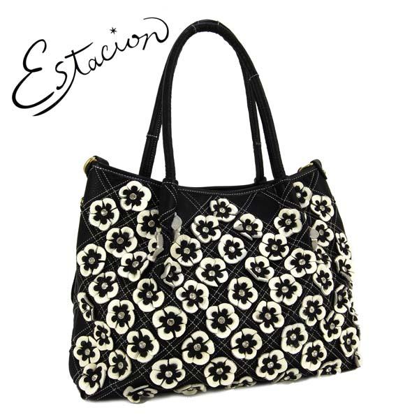 個性的なバッグです エスタシオン Estacion 5%OFF ビジュー付き 革 オンラインショッピング 小花モチーフ2WAYバッグ