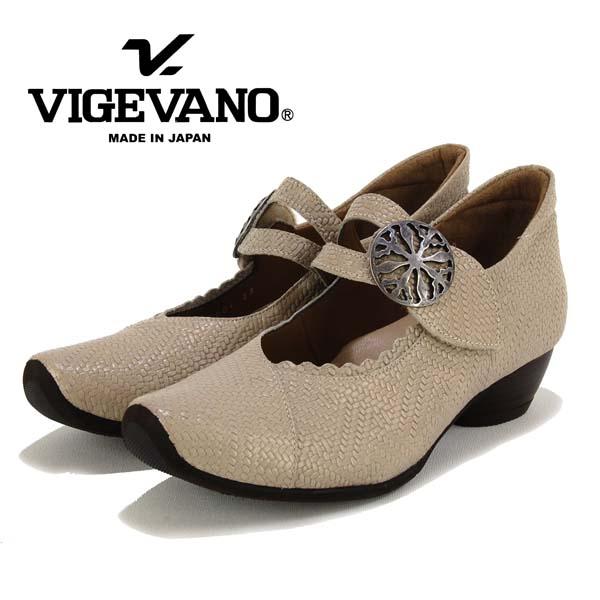物品 メッシュ風の型押しした革と甲ベルトの金具が高級感のあるデザインです 上品で履き心地の良いパンプスです VIGEVANO ヴィジェヴァノ 激安挑戦中 甲ストラップ ローヒールパンプス 革