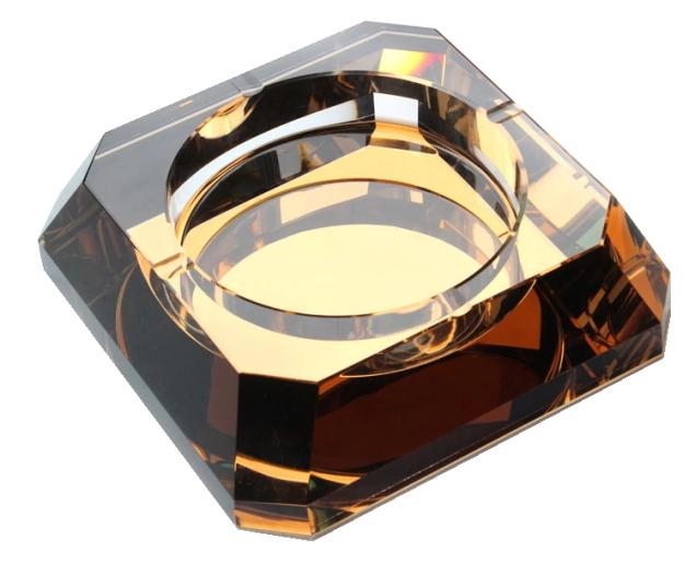 送料無料 【灰皿】【ギフト】【スクエア】クリスタルガラス 雑貨 お洒落 こだわり おしゃれ 小物入れにも プレゼント カラー ホワイト ゴールド グリーン HM-0208 【 GMS00251 】