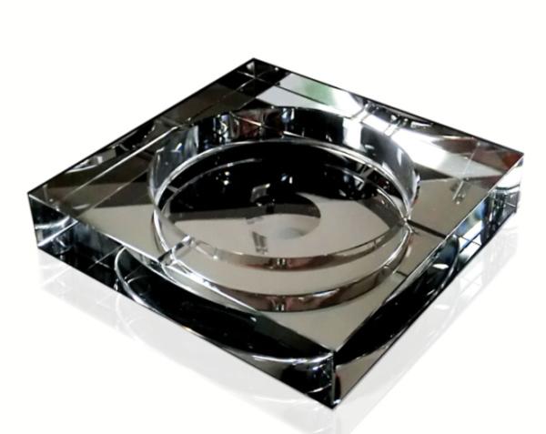 送料無料 高級 クリスタルガラス製 灰皿 ブラック 黒色 HM-0024(25cm) 【父の日】G-HOUSE(ジーハウス) 【 GMS00080-25 】