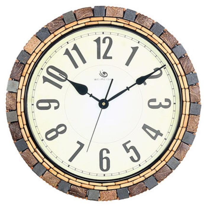 【最大ポイント 50倍!】送料無料 【大きい】掛時計 壁掛け時計 北欧 掛け時計 おしゃれ 木製 時計 ヤシの木 ココナッツ ウォールクロック 人気商品 電池 フック付 HM-1240 【 GMS01281 】