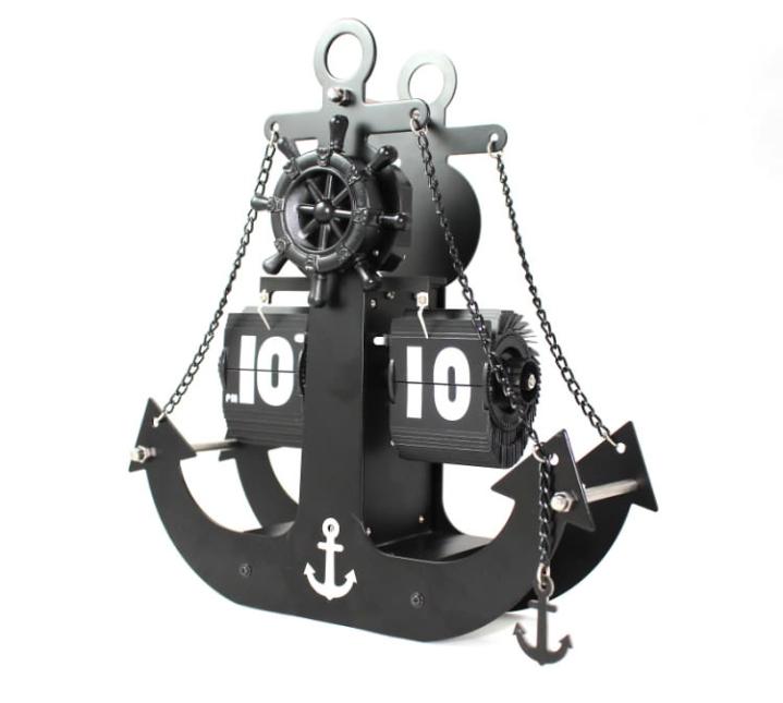 【スーパーセール開催中】【最大50%OFF】GMS01333 送料無料 【置き時計】 パタパタ時計 海 船 おしゃれ 碇 いかり ブラック マリン 海賊船 HM-1299 【 GMS01333 】