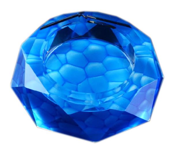 高級クリスタルガラス製 灰皿 ブルー 18cm HM-0583-18【プレゼント】【 お祝い】【 記念品】【ギフト用】【父の日】G-HOUSE(ジーハウス)