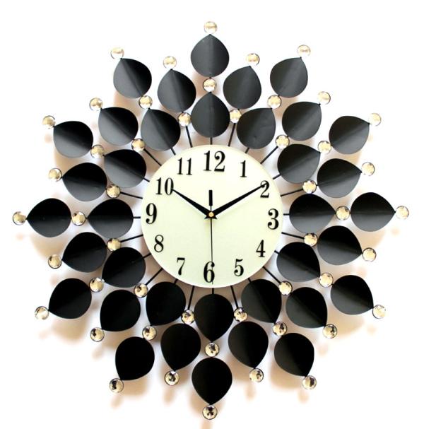 【最大ポイント 50倍!】【15% ポイントバック】G-HOUSE(ジーハウス) 高級 モダン おしゃれ デザイン ブラック リーフ 壁掛け 掛け時計 HM-0851(M) 【 GMS00893-M 】