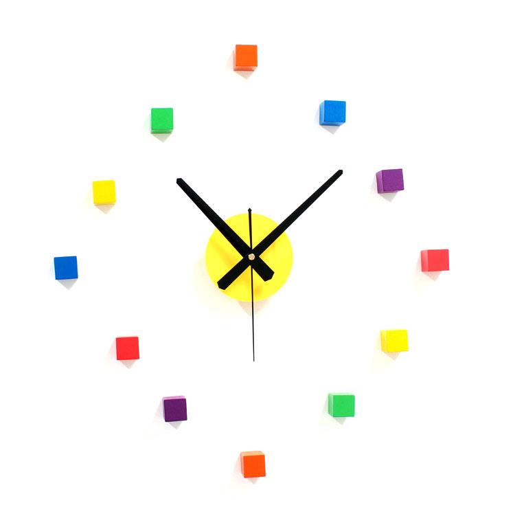 【最大ポイント 50倍!】【15% ポイントバック】G-HOUSE(ジーハウス) おしゃれ デザイン ピース ウォールデコ ブロック カラフル 壁掛け時計HM-0887 【 GMS00929 】