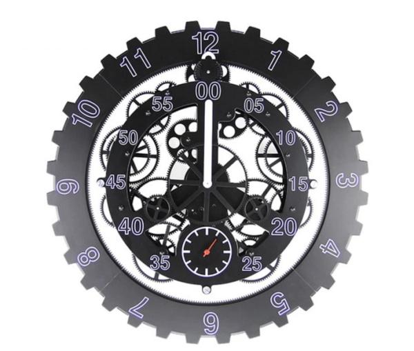 【スーパーセール開催中】【最大50%OFF】GMS00955-BLK G-HOUSE(ジーハウス) 高級 モダン ユニーク デザイン 歯車 ギア 壁掛け時計 HM-0913(ブラック) 【 GMS00955-BLK 】
