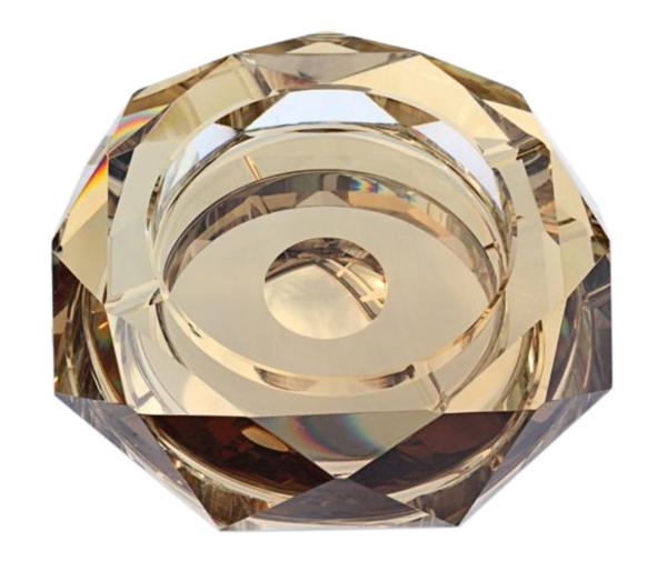 高級クリスタルガラス製 灰皿 ゴールド 20cm HM-0442-L 【プレゼント】【 お祝い】【 記念品】【ギフト用】 【 灰皿 ガラス おしゃれ デザイン モダン】【父の日】G-HOUSE(ジーハウス)