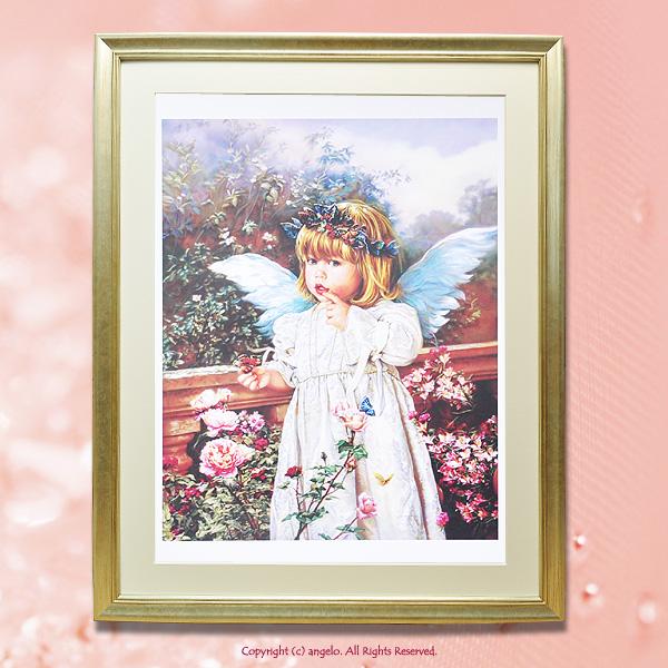 スーパーセールLittle Girl Angel『海外直輸入』サンドラクック 天使額絵Sandra Kuck アンジェロ天使 バラ 父の日  ギフト対応 あす楽