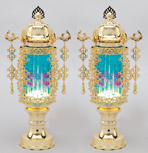 霊前灯 7号バブル灯 ブルー(1対・2個) 高さ33cm※電装コード式(T257)