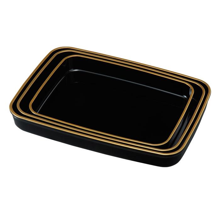 【紀州漆器】広蓋 金縁付 15.0木質複合樹脂(23-95-5B)