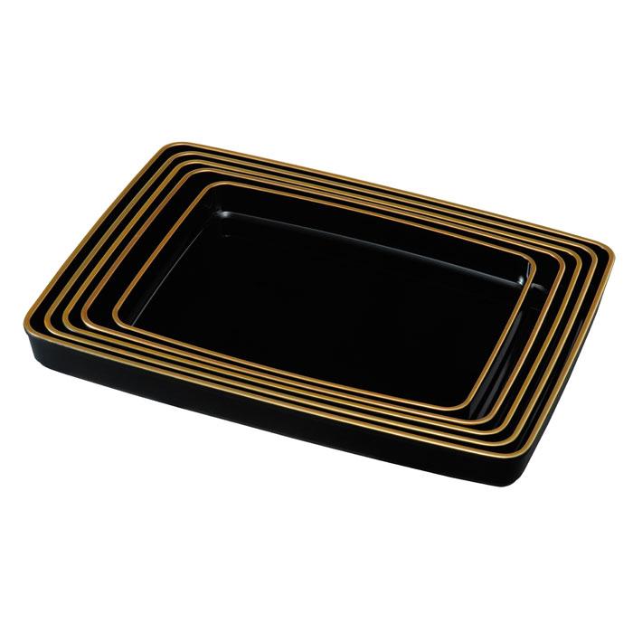 【紀州漆器】賞状盆 15.0 金縁付木質複合樹脂(23-95-6B), ハイレット 自由が丘 f40a93e5