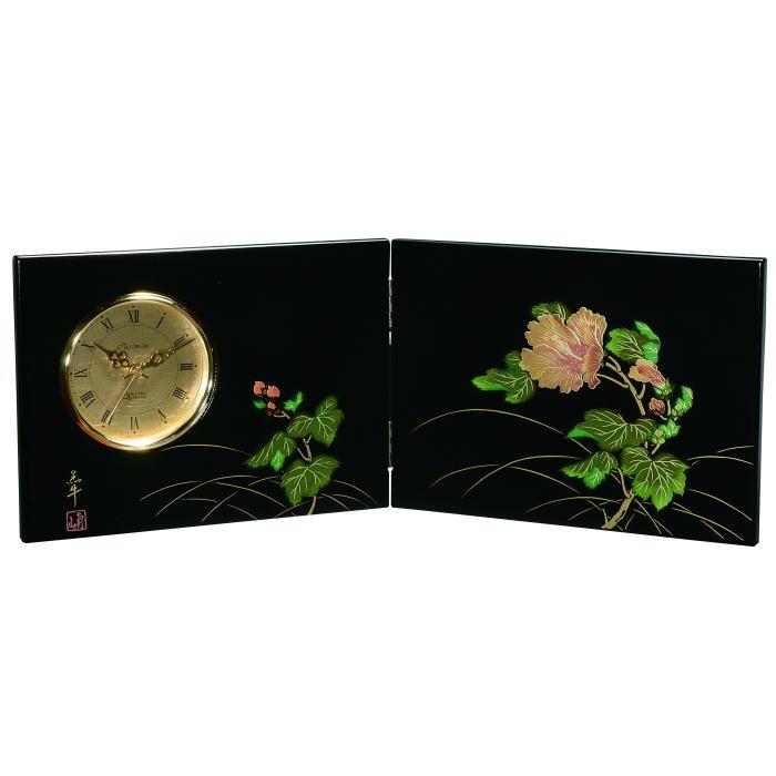 【送料無料】【紀州漆器】屏風時計紀の花(23-80-1)