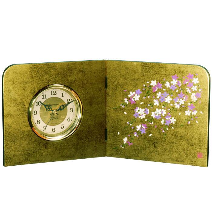 【送料無料】【紀州漆器】屏風時計金箔貼 しだれ桜(23-80-3)