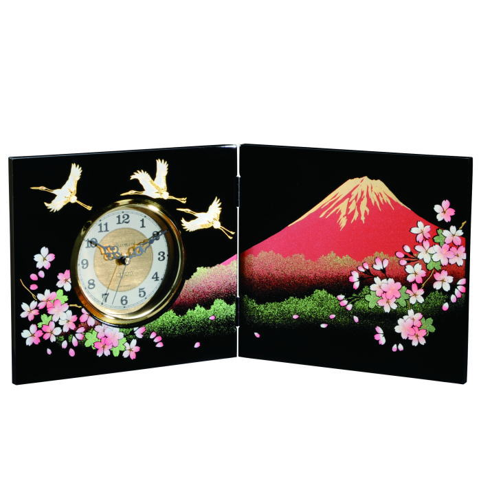 【送料無料】【紀州漆器】屏風時計一富士二鶴三桜(23-80-7)