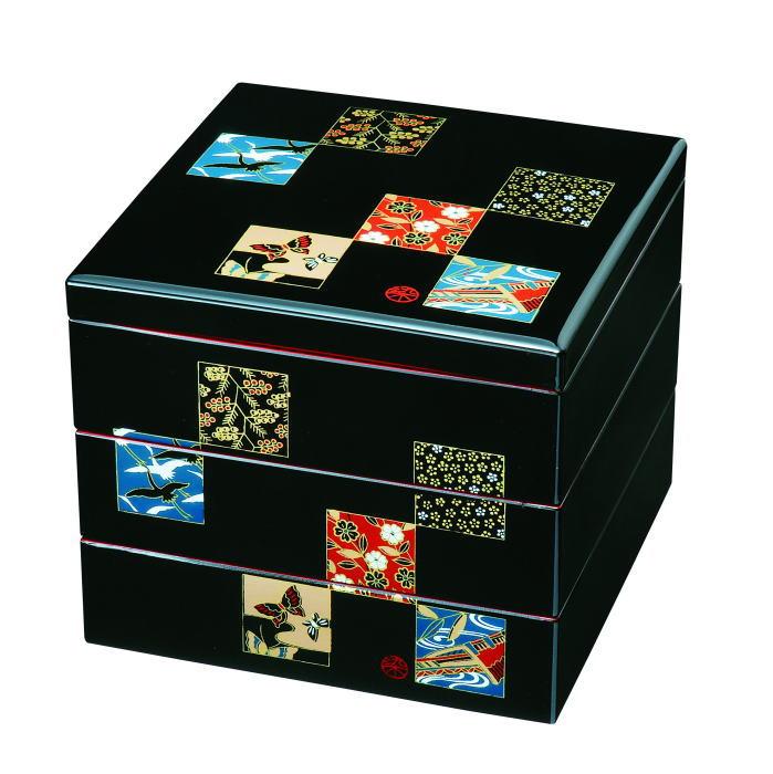 【紀州漆器】重箱7.0三段重黒内朱 市松友禅ABS(23-66-7B)