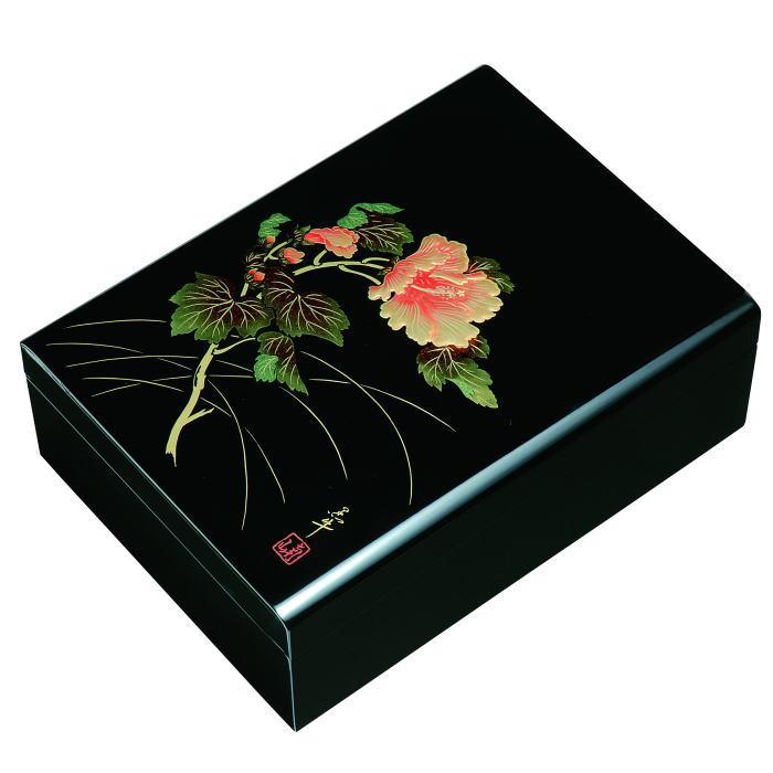 【送料無料】【紀州漆器】文庫11.0合口文庫黒 紀の花MDF(23-69-1)