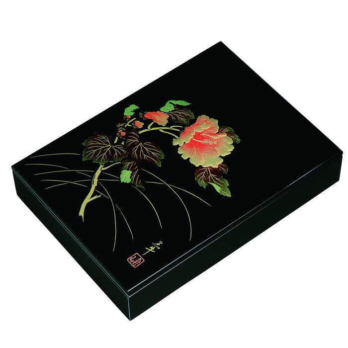 【送料無料】【紀州漆器】文庫11.0板蓋手許箱黒 紀の花(A4判)MDF(23-69-4)