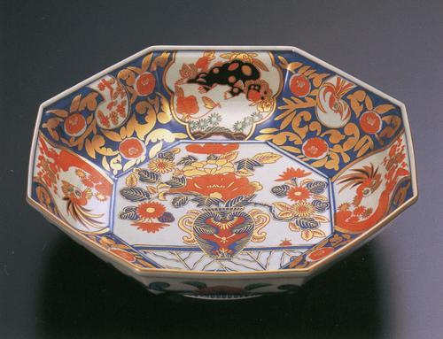 金唐草花篭図 八角鉢(木箱入)【古伊万里様式】 林九郎窯(2207703)