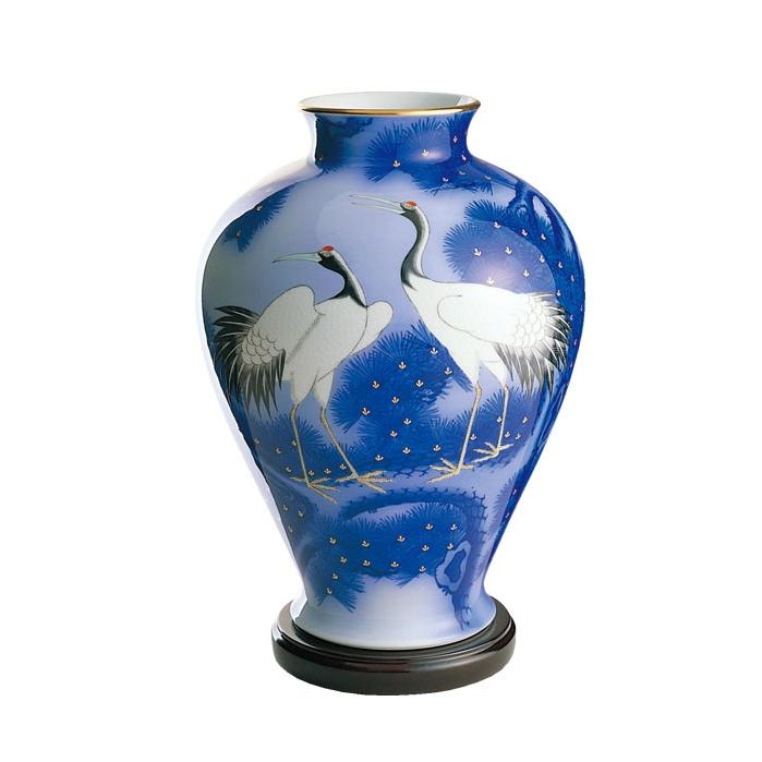 香蘭社松鶴 花瓶木箱入り生ける喜び。愛でる楽しさ。日本伝統の美(925-NC12)
