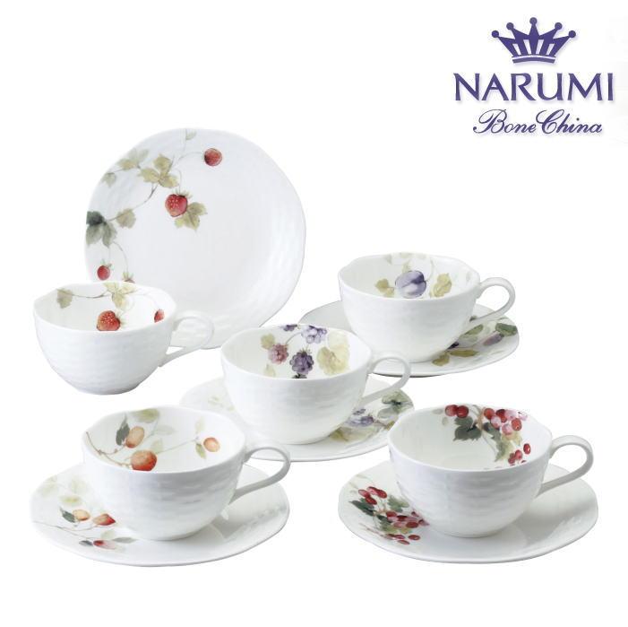 ナルミ ルーシーガーデン5客アソートティー・コーヒー碗皿(96010-23067P)