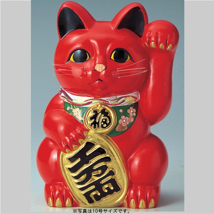 常滑焼2018梅月 10号小判猫 左赤(常滑8442)【背面貯金箱】