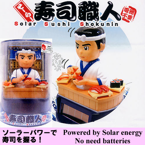Sushi chefs hold the sushi with solar power