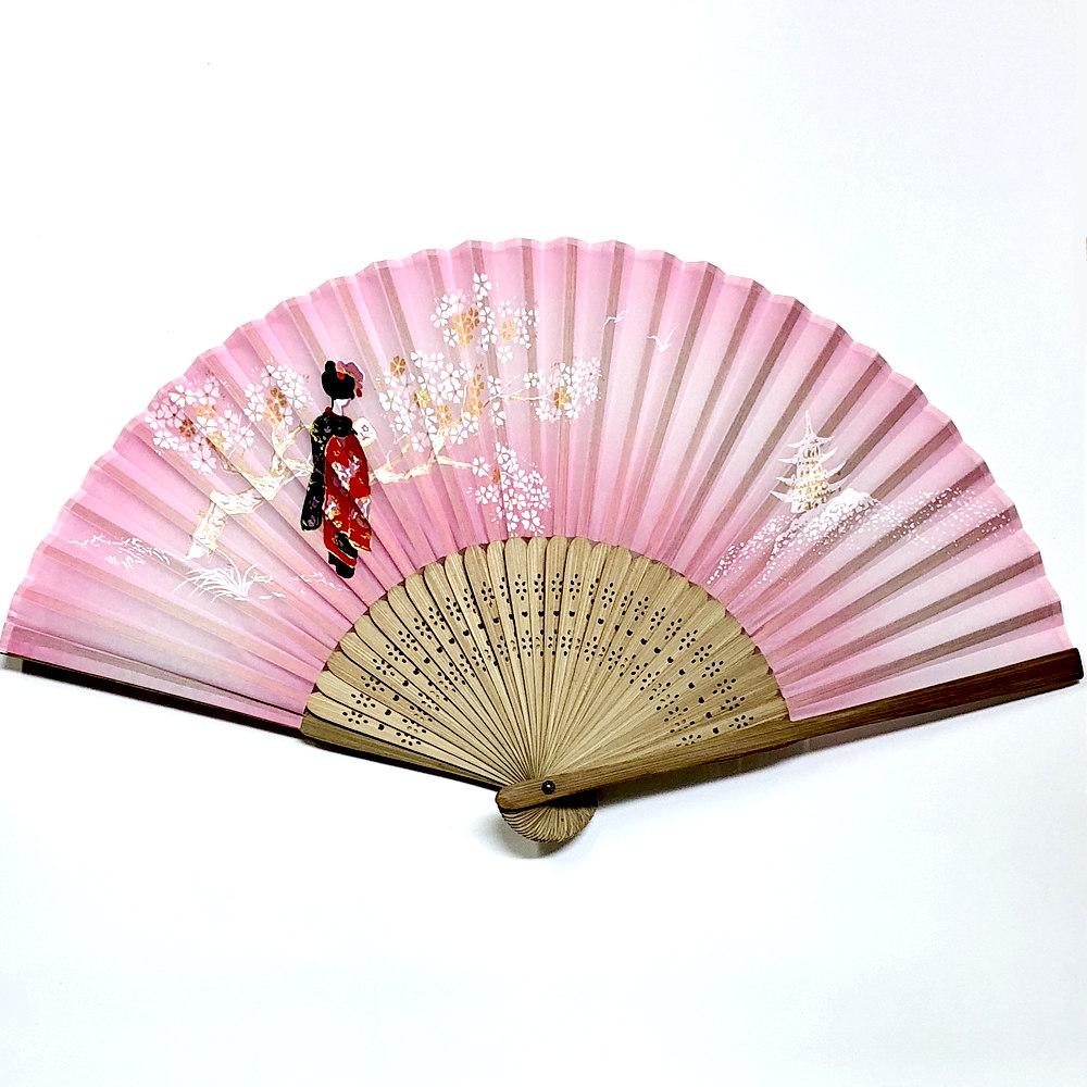 舞妓扇子 外国人が喜ぶ日本のお土産 大好評 開運扇子 舞妓さん ピンク 休み プラケース付き 和風扇子 和風 縁起物 購買 メール便 送料無料 日本のお土産 ホームステイのおみやげ 和柄