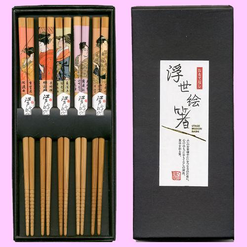 Wooden chopsticks set Ukiyo-e prints beautiful bamboo