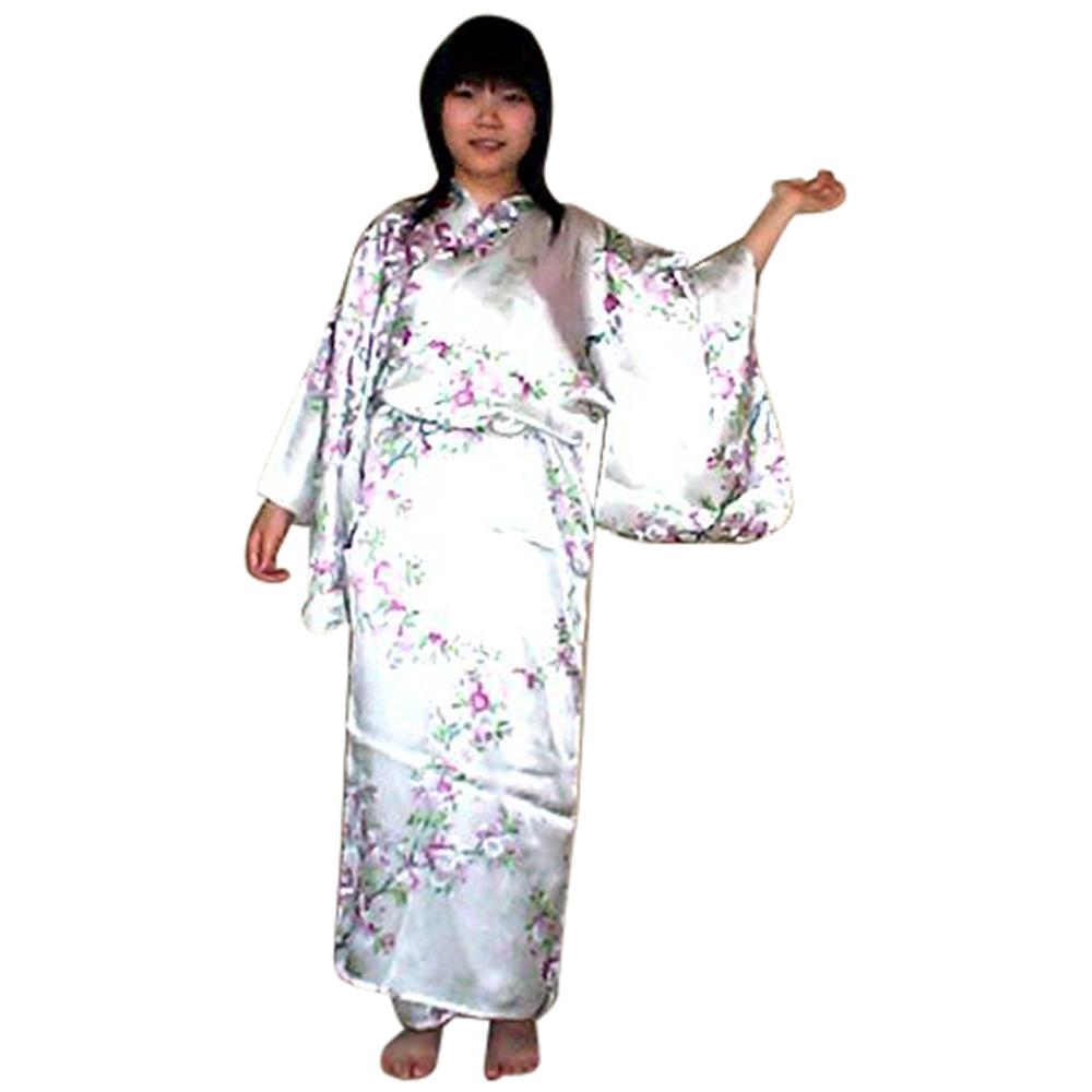 外国人向けシルク着物 さくら アイボリー【送料無料】【外国人向け着物】【日本のおみやげ】【日本のお土産】【ホームステイのおみやげ】【シルクローブ】