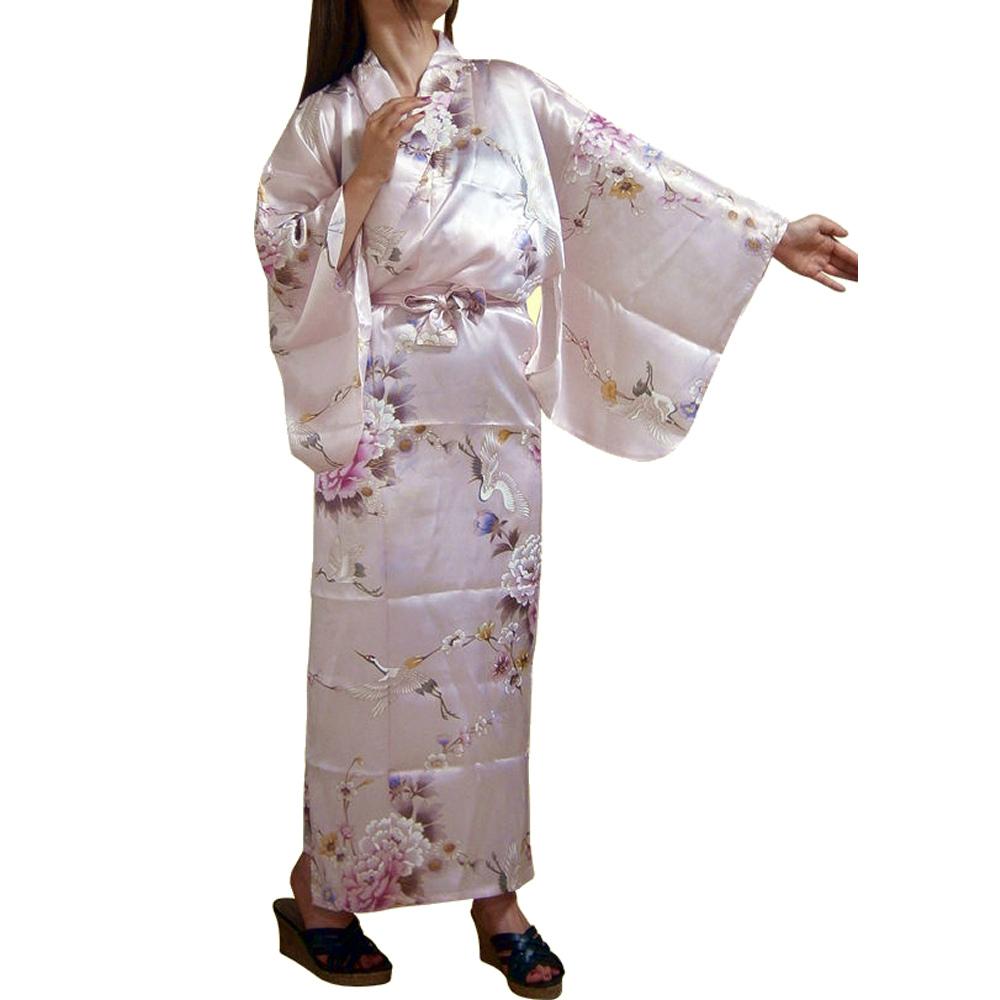外国人向けシルク着物 鶴 ピンク【送料無料】【外国人向け着物】【日本のおみやげ】【日本のお土産】【ホームステイのおみやげ】【シルクローブ】