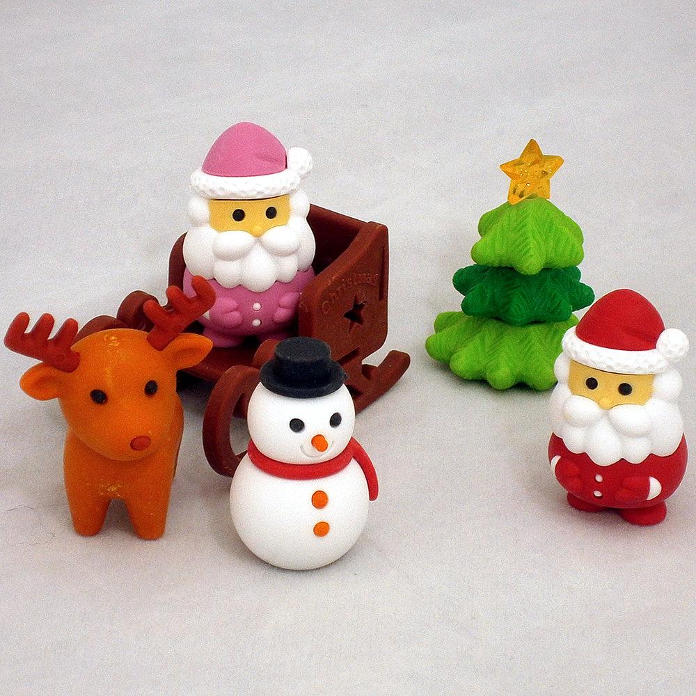 【クリスマスフィギュア】【クリスマスの飾りつけ】おもしろ消しゴム 大好評 クリスマスを盛り上げるミニフィギュア消しゴム6個セットサンタクロース(赤サンタ・ピンクサンタ)クリスマスツリー・雪だるま・トナカイ・雪そり オーナメントクリスマス用品