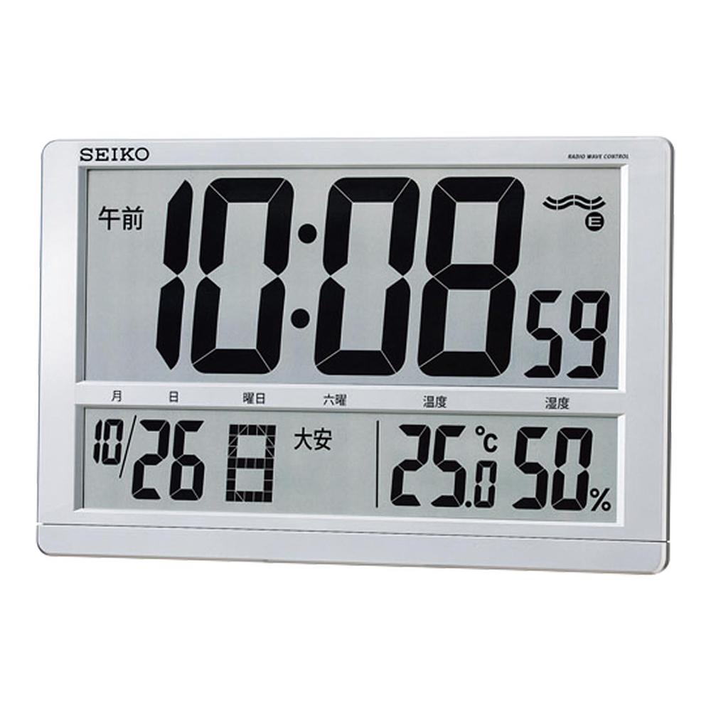 お祝い 御祝 温度計 湿度計 SQ433S /セイコー デジタル時計 掛置兼用 温度 湿度表示付 大型液晶電波クロック SQ433S新築祝い 竣工記念 開店祝い 開業祝い